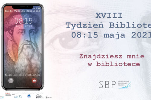 Plakat promujący Tydzień Bibliotek